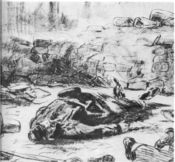 Manet, Dead bodies as the Versailles government attacks the Commune